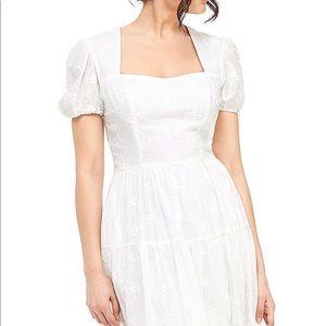 Gal Meets Glam Dresses - GMG Violetta Tiered Rosette Square Neck Midi Dress